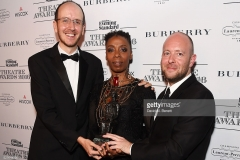 poses in front of the winners boards at The 62nd London Evening Standard Theatre Awards, recognising excellence from across the world of theatre and beyond, at The Old Vic Theatre on November 13, 2016 in London, England.